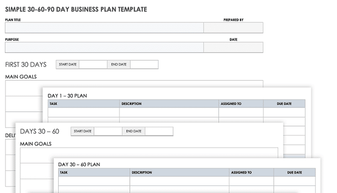 simple 30 60 90 day business plan template