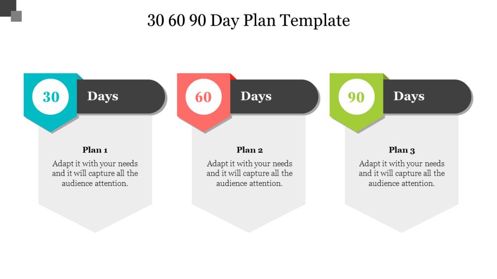 multi-color 30 60 90 plan template