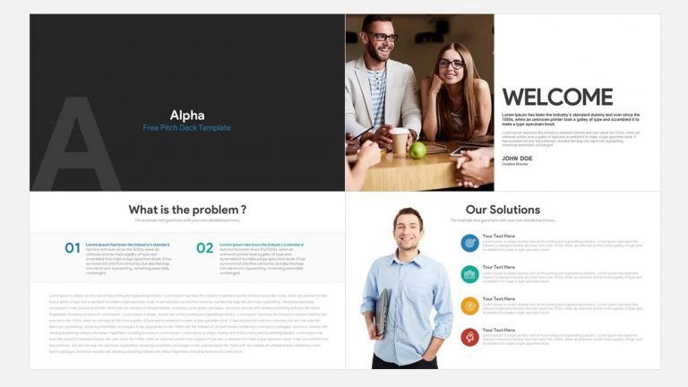 alpha free pitch deck PowerPoint templates