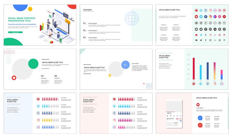 free social media strategy Google slides templates