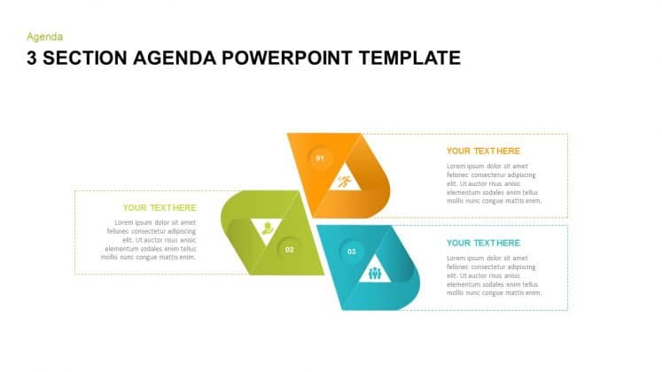 3 section free agenda PowerPoint templates