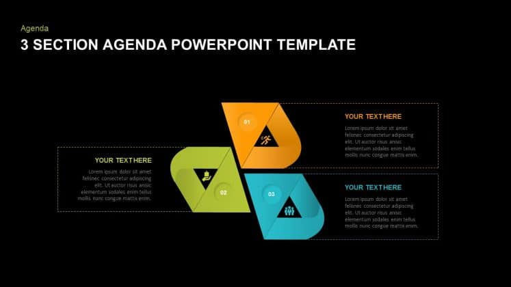 3 Section free dark PowerPoint templates