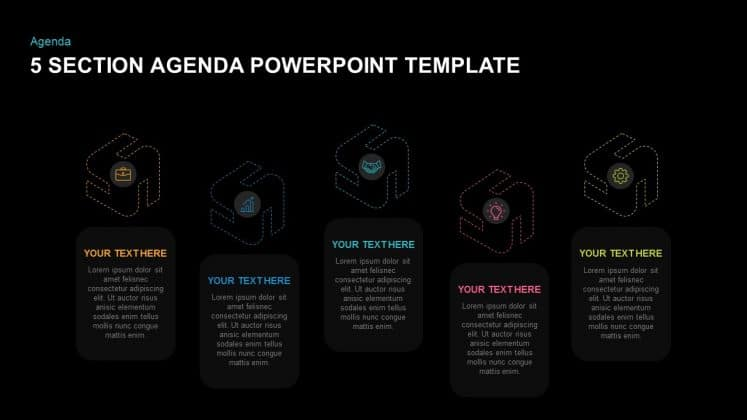 Free dark PowerPoint agenda slide template