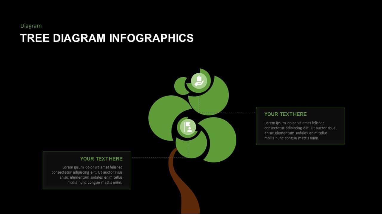 Dark Free PowerPoint tree diagram