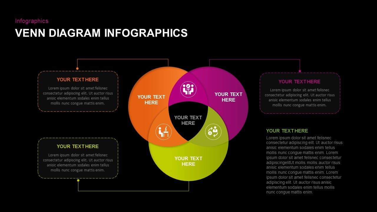 Free dark venn diagram infographic