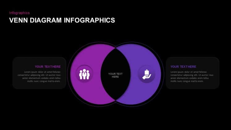 Free dark PowerPoint venn diagram template