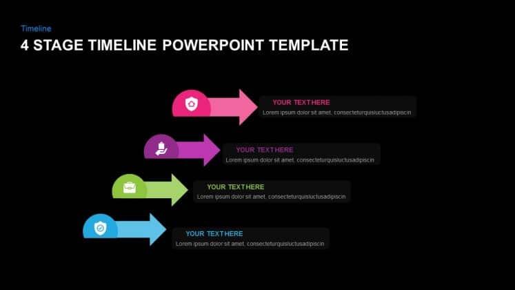 Dark PowerPoint timeline templates free