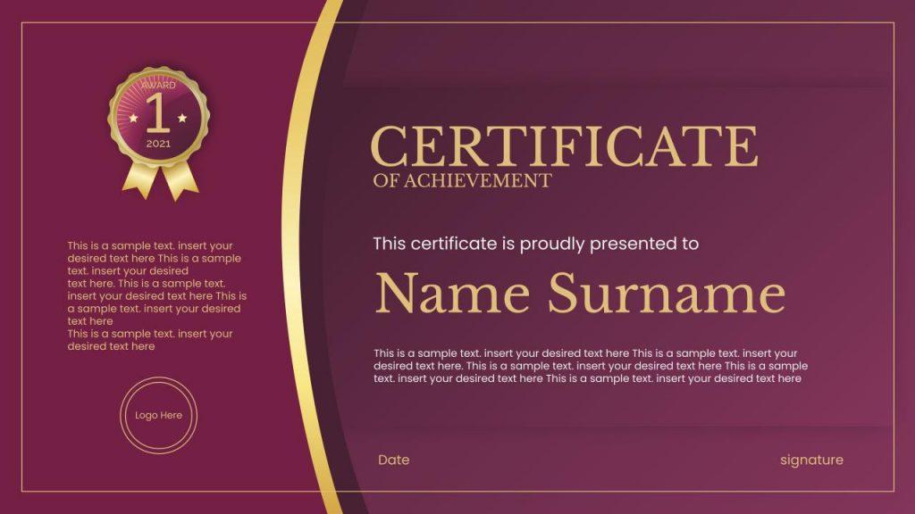Free certificate template google slides