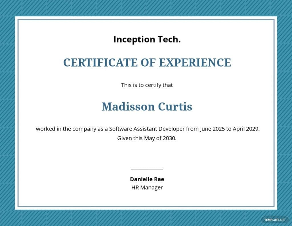Job experience certificate template google slides
