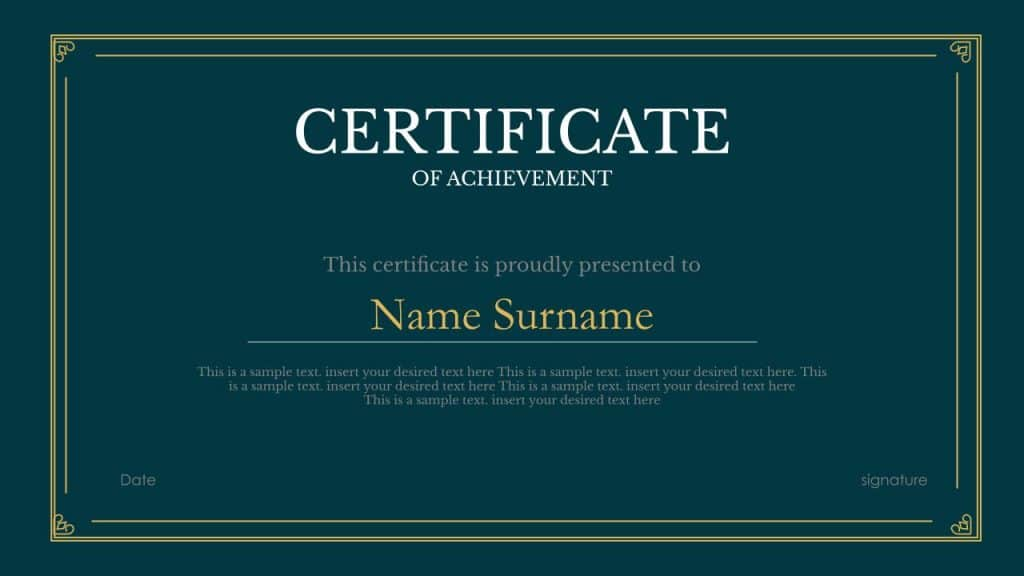 Free certificate google slides templates and Powerpoint