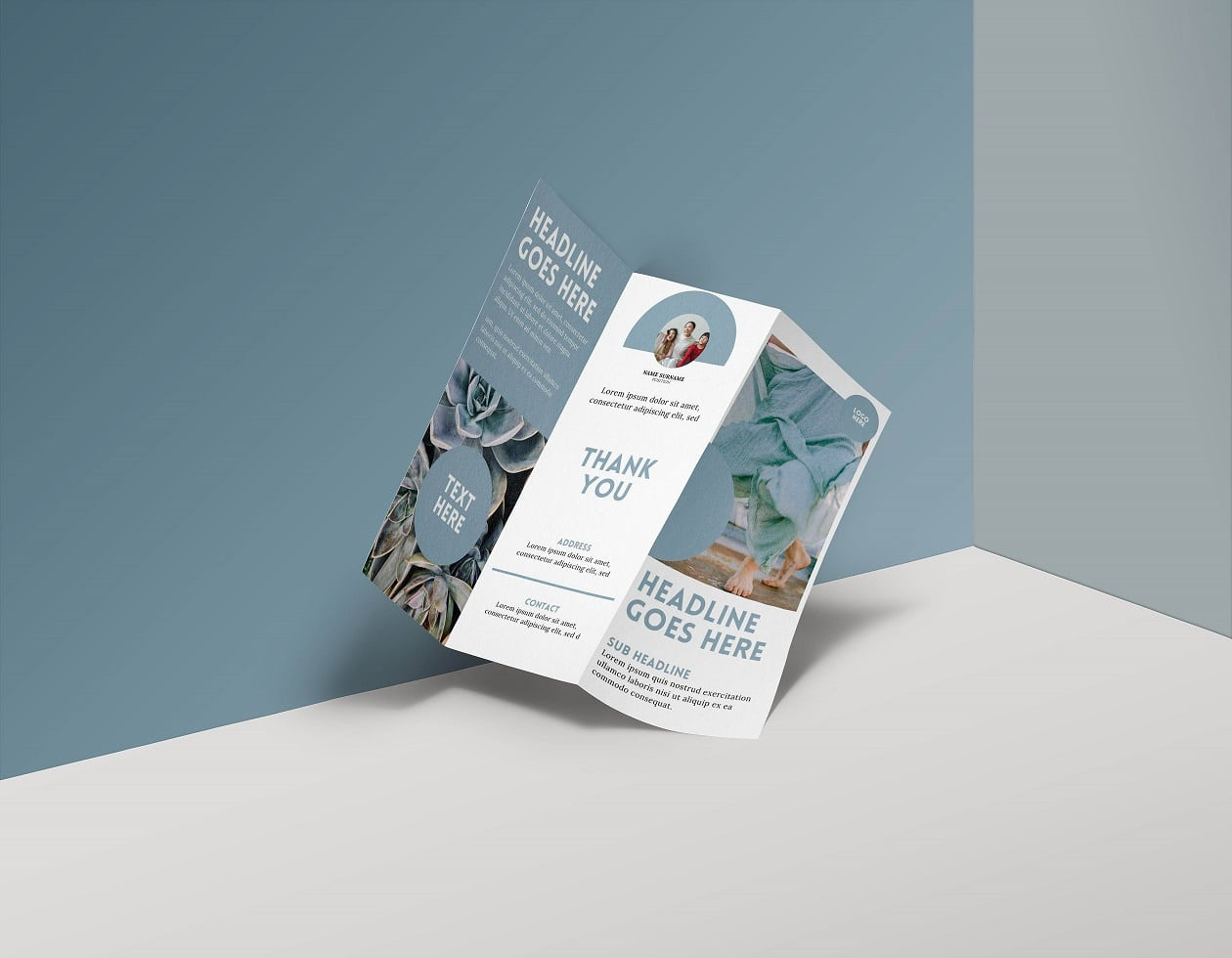 Free Canva Trifold Corporate Business Brochure Templates