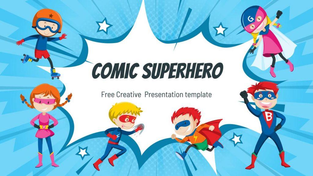 Comic Superhero Cute Google Slides Themes