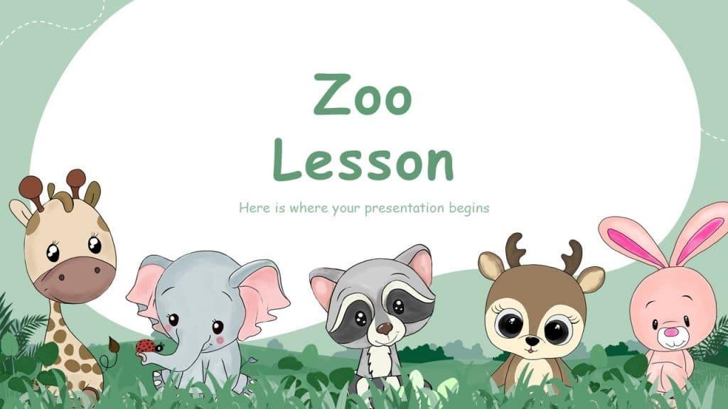 Free Animated Zoo Animals Cute Google Slides Themes