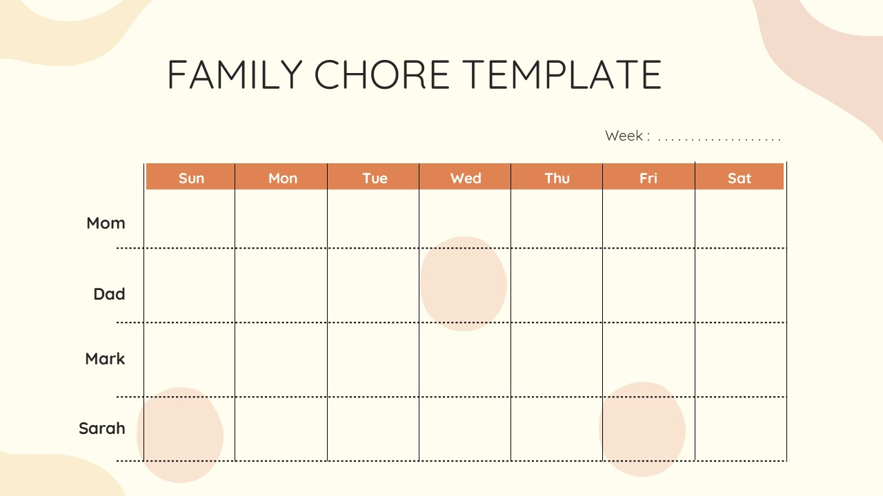 Free Weekly Chore Chart Template