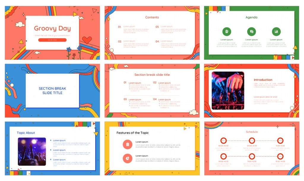 Groovy Day Aesthetic Google Slides Themes PowerPoint Template