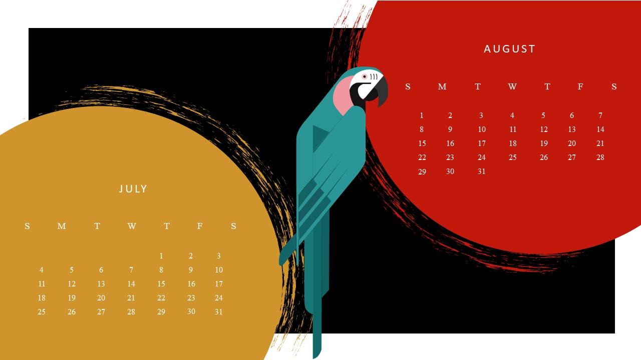 Free Google July August 2021 Calendar Template
