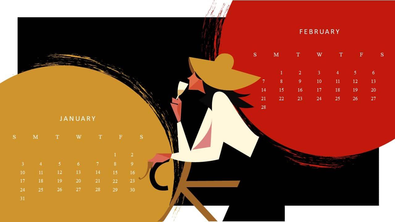 Free January February 2021 Calendar