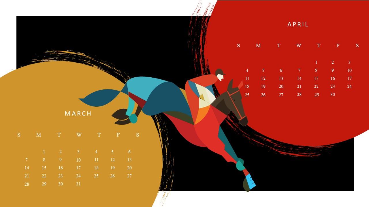 Free Google March April 2021 Calendar