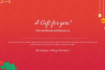 Red colored theme gift certificate template