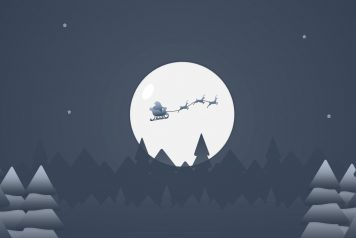 A creative christmas background with shadow of flying santa claus over the moon