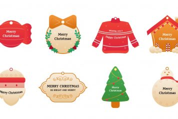 A Christmas tag template with eight unique